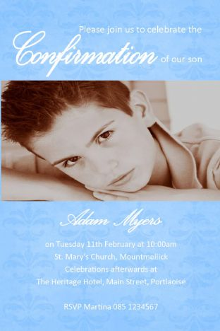 Personalised Confirmation Invitations Boy Photo